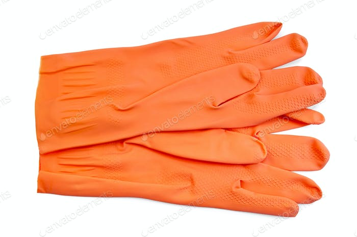Orange rubber gloves