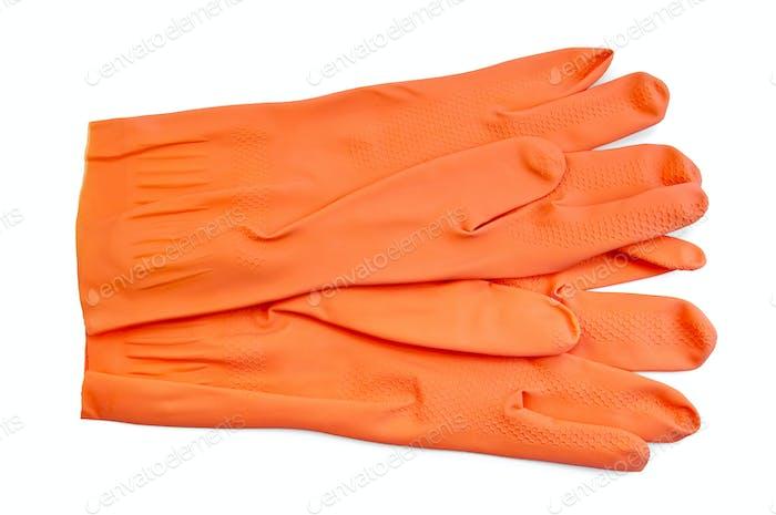 Orange Gummihandschuhe