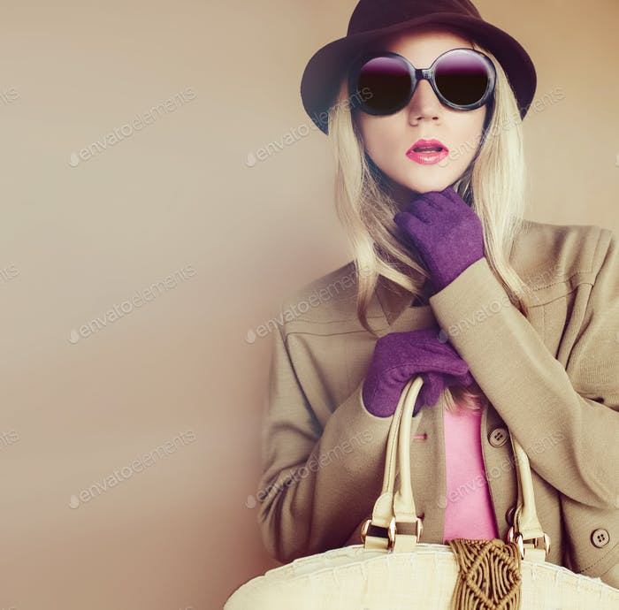 Stylish lady in fashionable hat