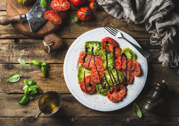 Heairloom tomato salad with olive oil, balsamic vinegar and basil