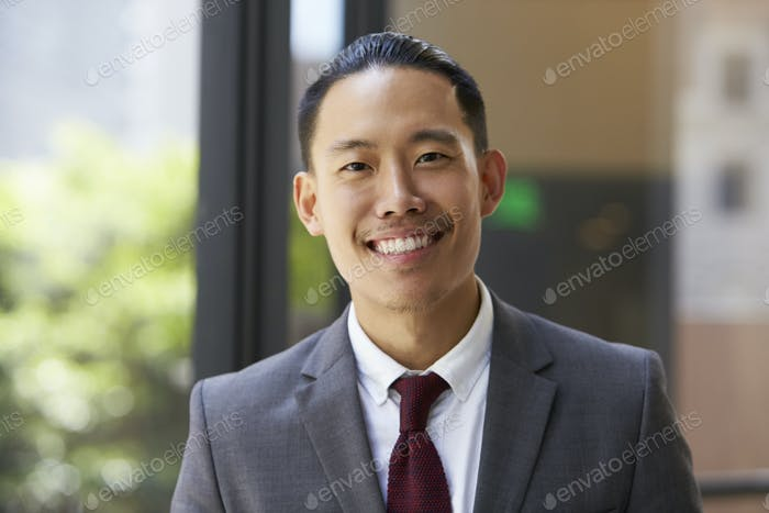 Young Asian businessman looking to camera, close up