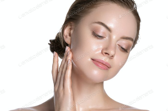 Glamour fresh touching neck young woman healthy hydration clean skin face. Isolated on white.