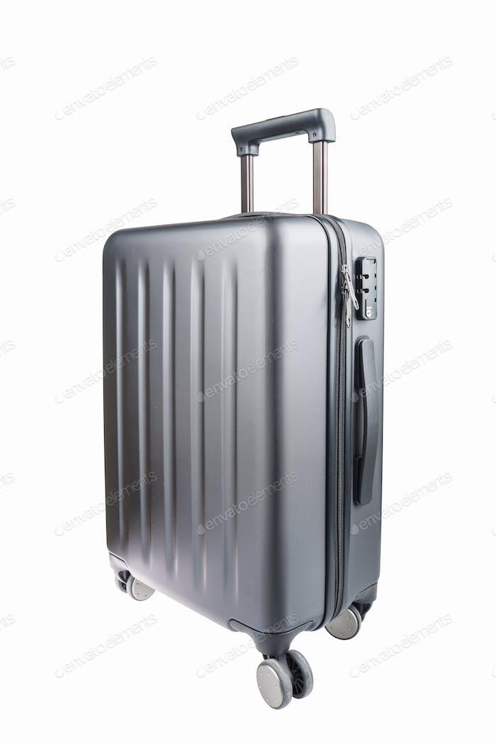 grey travel luggage isolated