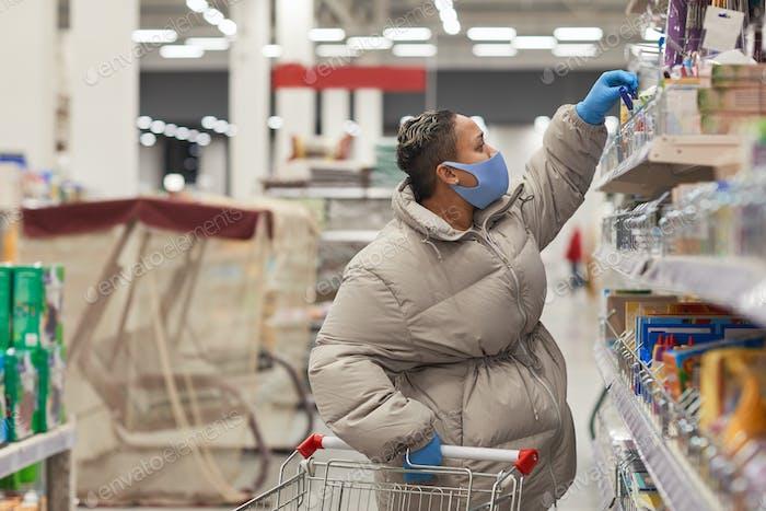 Woman shopping during epidemic