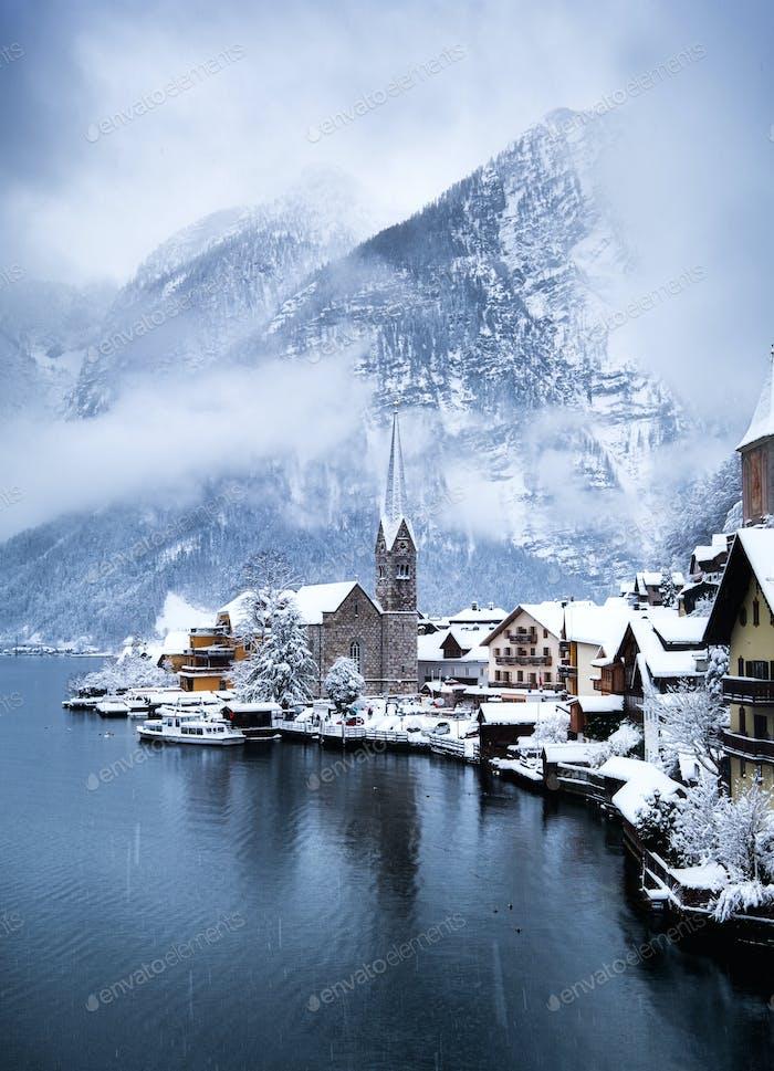 Hallstatt, Austria. Winter landscape