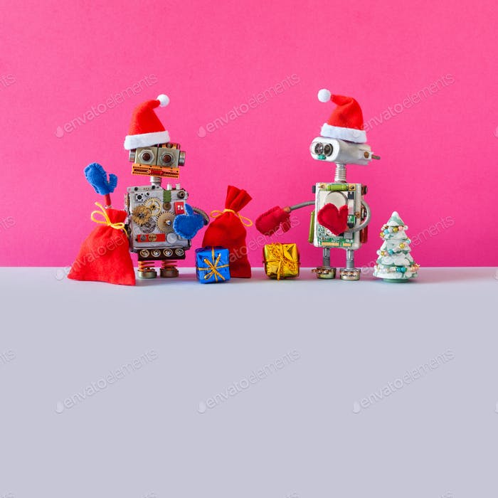 Robots Santa Claus dressed red Santa hats, toy spruce tree, bags Xmas gifts
