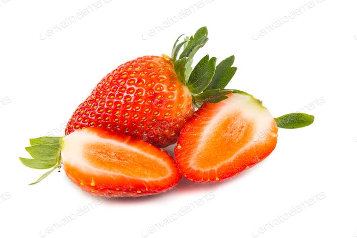 Closeup of fresh juicy organic strawberries with white backgroun