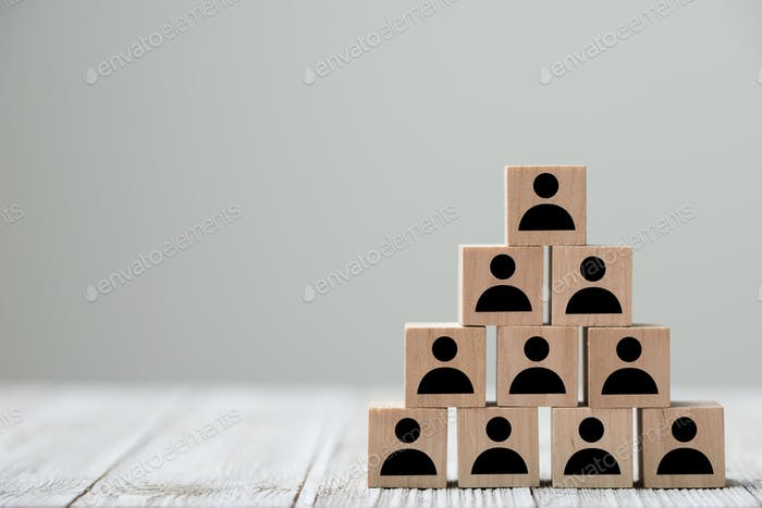 People profile icon in pyramid shape for an organization concept