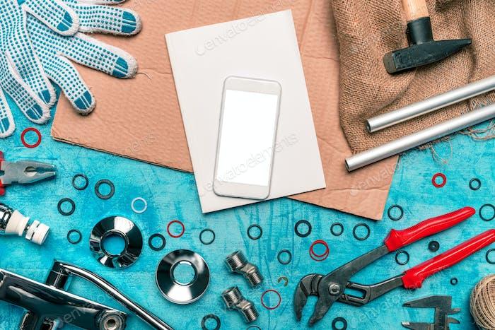 Plumbing DIY tutorial app smartphone mock up