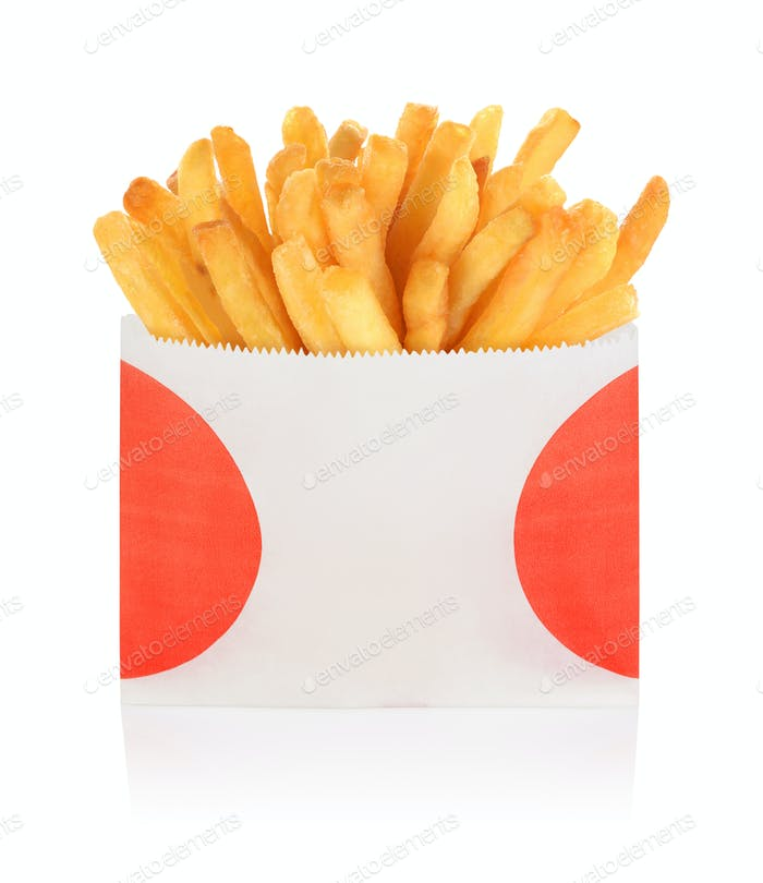 French fries box isolated