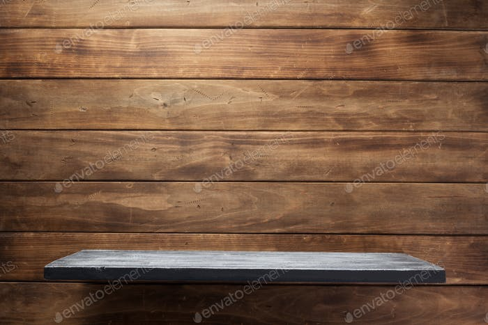 shelf and wooden wall background texture