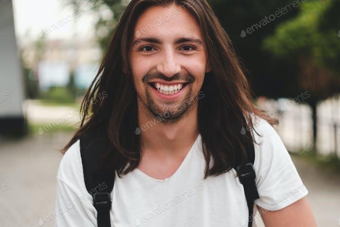 Portrait happy man smiling