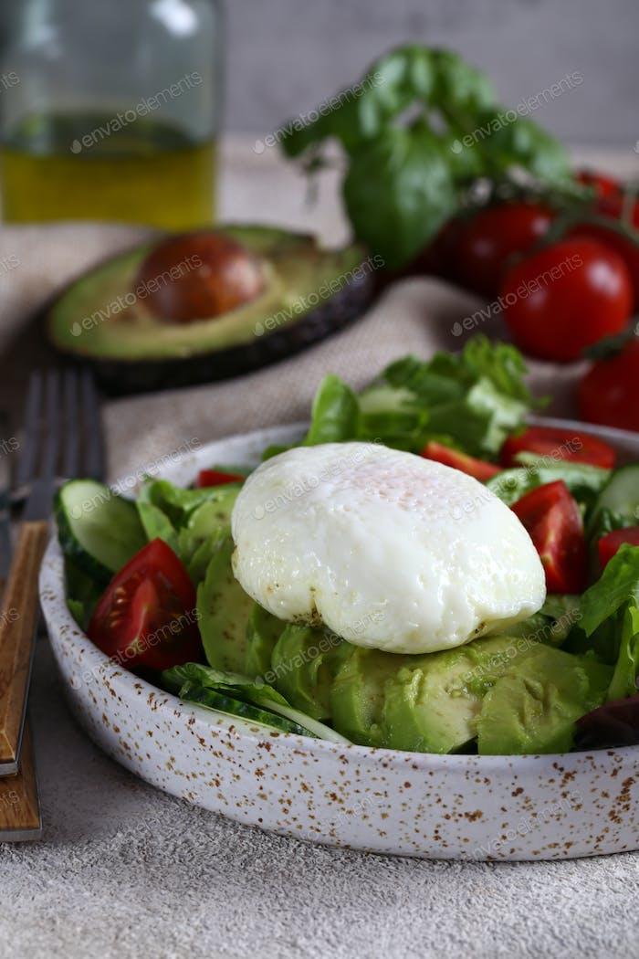 Salad with Ripe Avocado