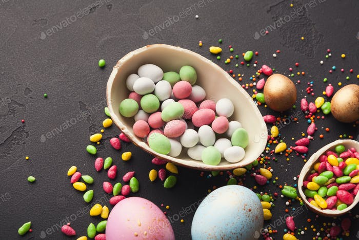 Chocolate egg filled with colorful candies