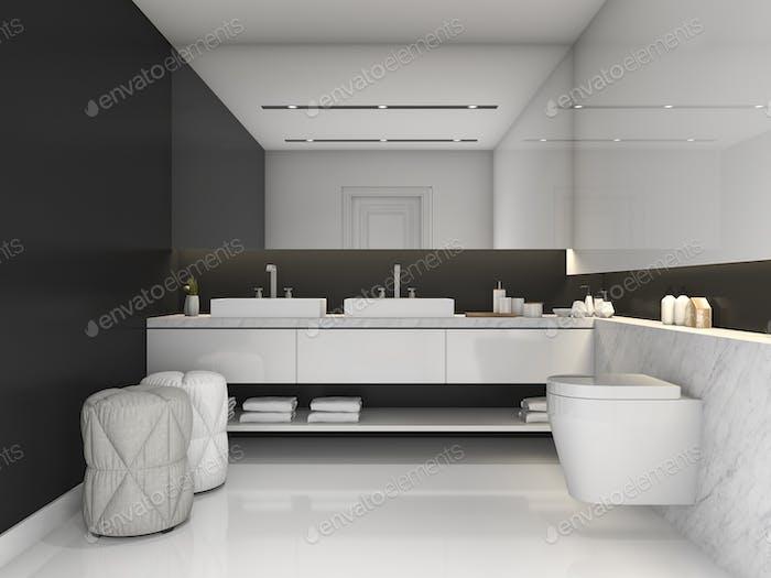 3d rendering black minimal modern style bathroom