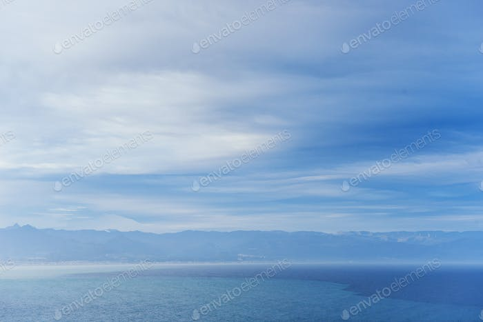 blue sky with clouds over the Mediterranean Sea