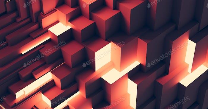 Fondo de cubos geométricos abstractos. Tecnología moderna