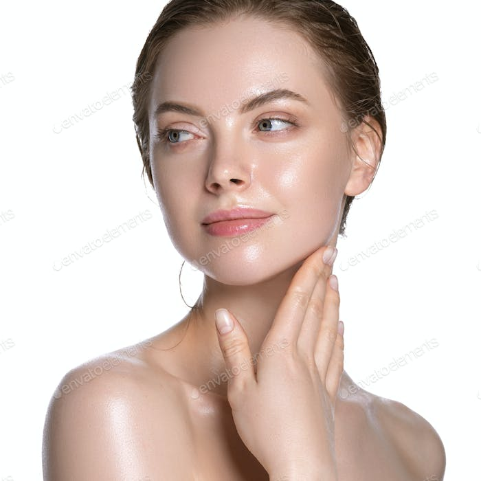 Sensual girl healthy hydration clean skin face beautiful model neck shoulders. Isolated white.