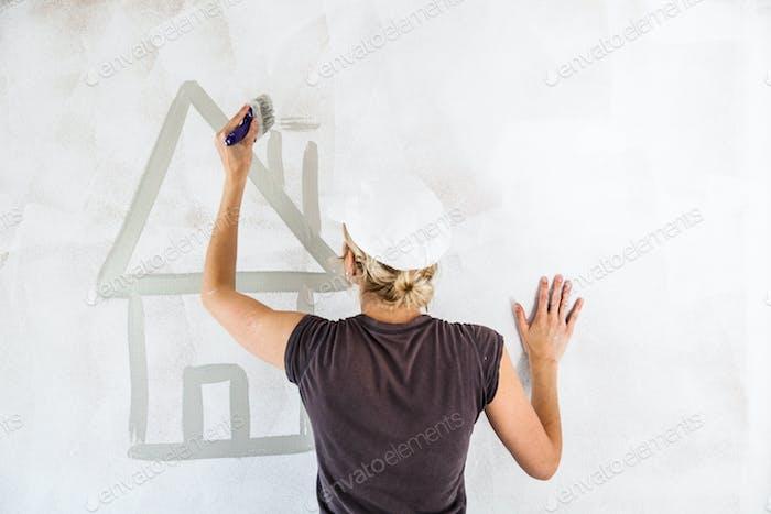 Sketch eines Hauses an der Wand