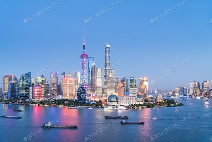 shanghai skyline in nightfall of light and colour