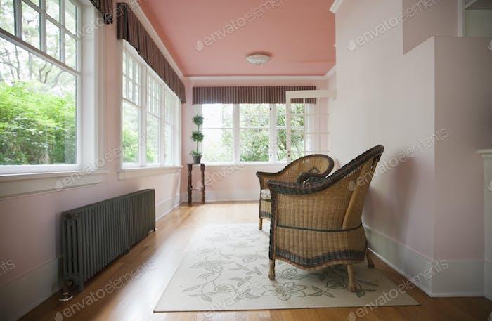 Sitting area facing windows