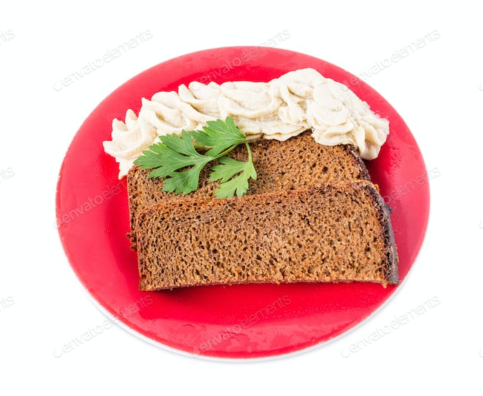 Rye bread with minced pork fat.
