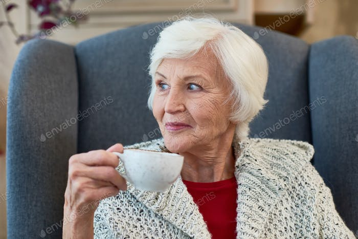 Senior Lady Enjoying Tea