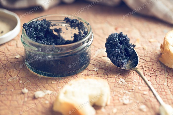 black caviar in jar