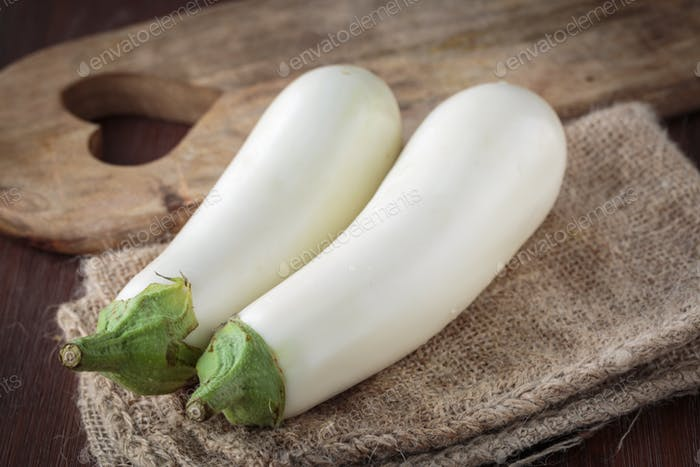 Fresh raw white eggplants