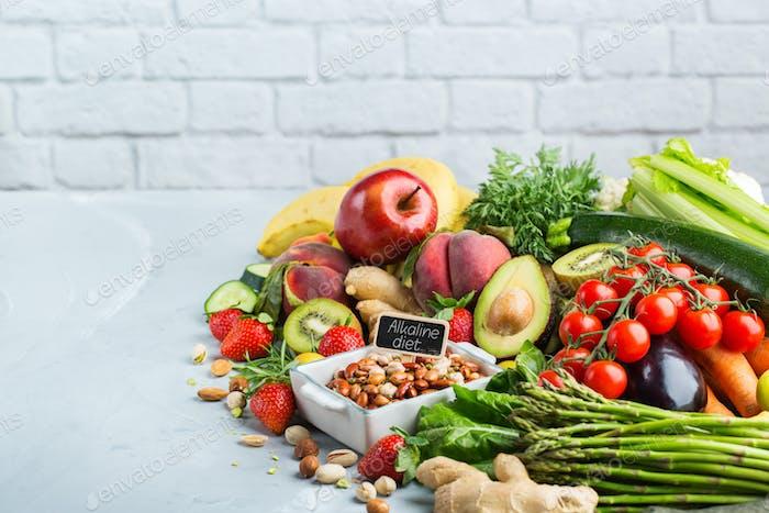 Healthy food for balanced alkaline diet concept