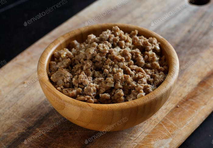 Ground or minced meat in a bowl