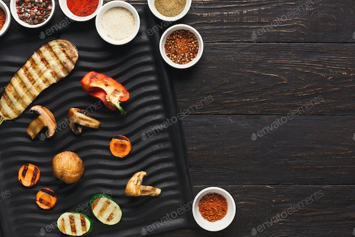 Grilled vegetables with spices top view