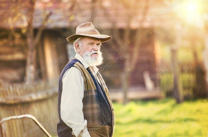 Senior man on his farm