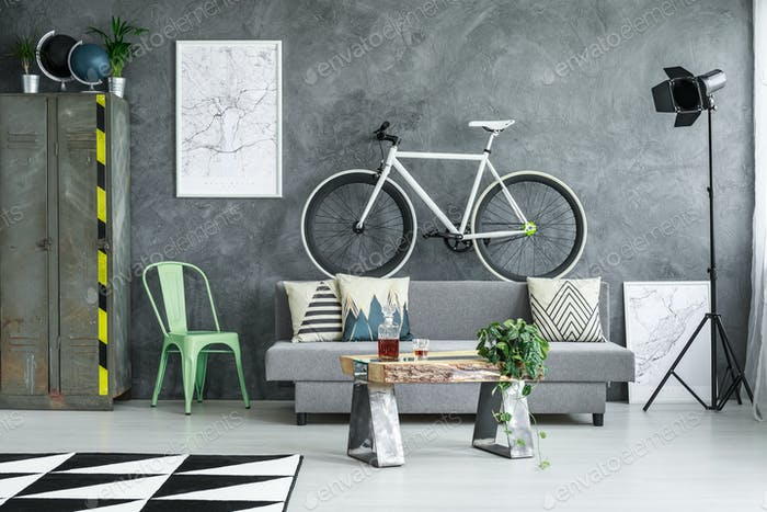 Bicycle placed on couch