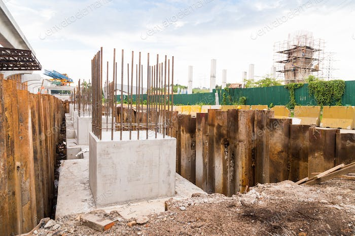 Foundation pillar being constructed at construction site