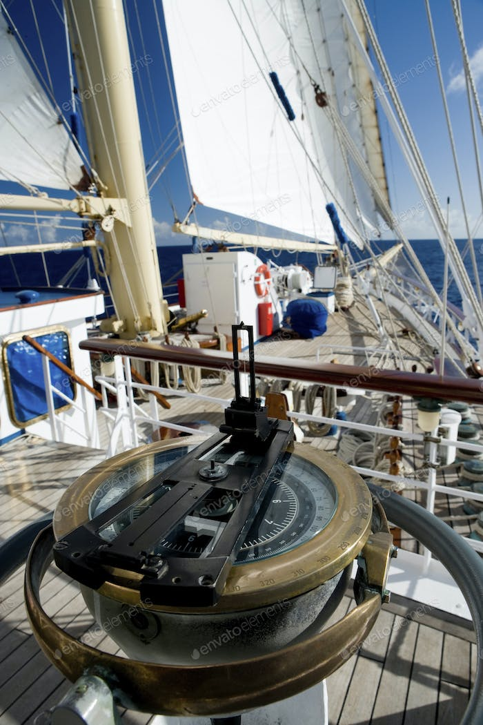 Aboard the Star Flyer, a true clipper ship,  during a trip through French Polynesia,Marine Sextant
