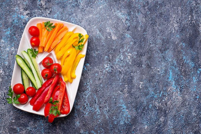 Fresh vegetables stick. Healthy appetizers