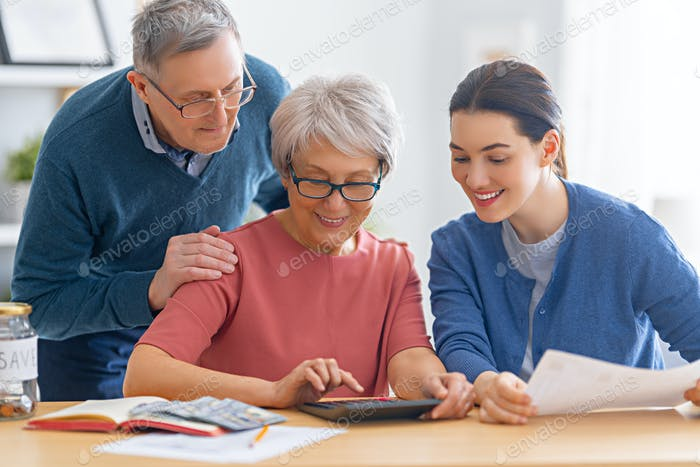 Family managing the family budget