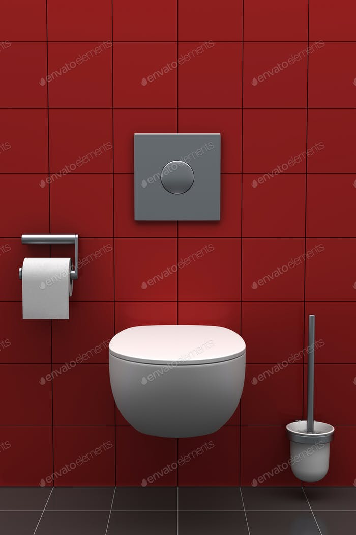 modern toilet with red tiles on wall