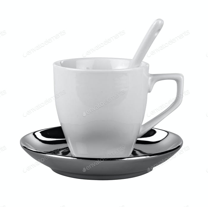 Small white coffee cup isolated on white ( clipping path )
