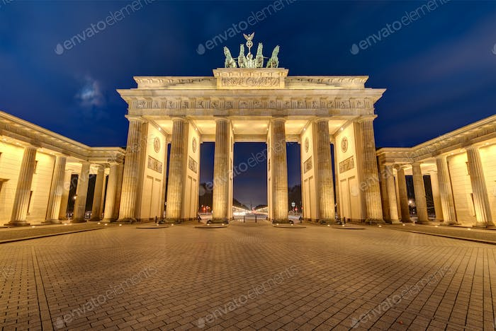 The illuminated Brandenburg Gate at night