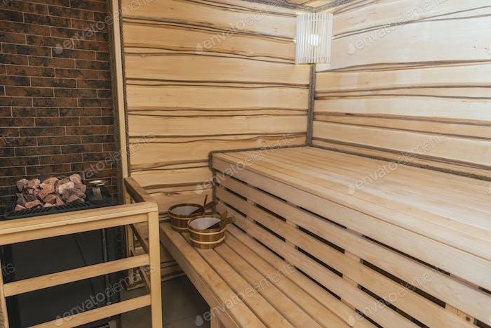 interior of moder wooden finnish sauna