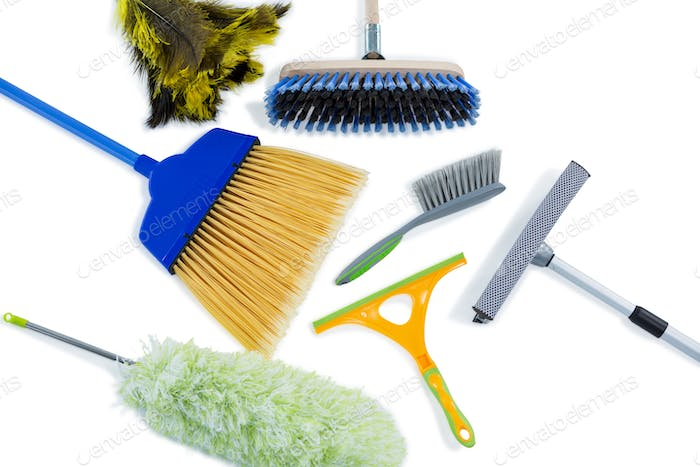 High angle view of cleaning work tools