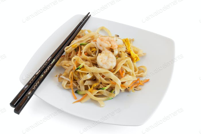 noodles with seafood and sticks