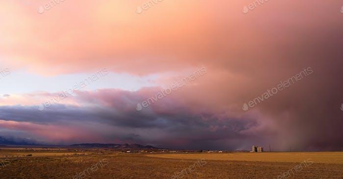 Milford Utah Storm at Sunset Great Basin USA
