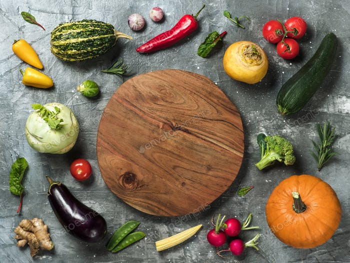 Selection of vegetables, copy space, top view