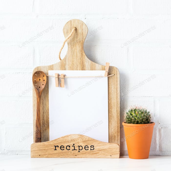 Kitchen board for recording recipes, menus and notes.