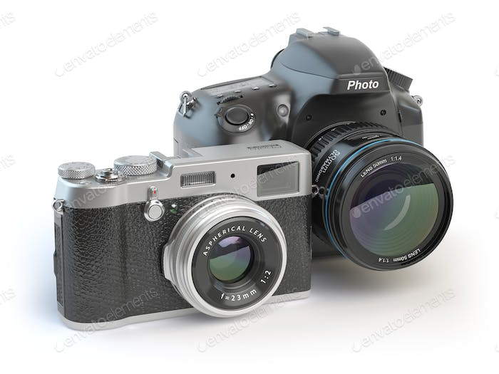 Digital cameras. Dslr and mirrorless stylized to retro vintage c