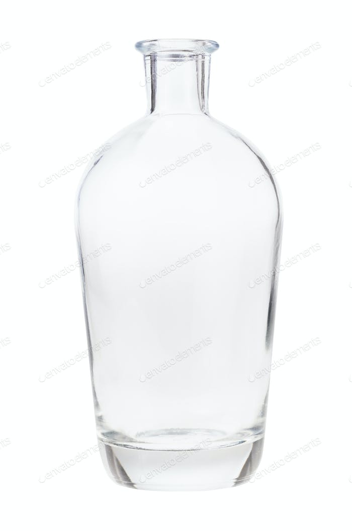 empty clear liquor bottle isolated on white