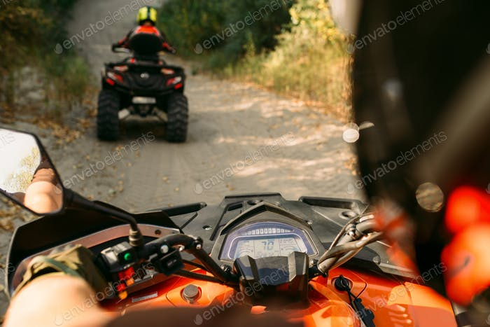 Atv riding, view through the eyes of driver